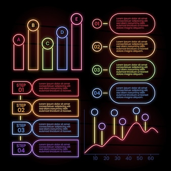 Infographic collectie in neon stijl