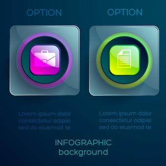 Infographic concept met tekst twee glazen transparante vierkanten glanzende kleurrijke knoppen en pictogrammen geïsoleerd