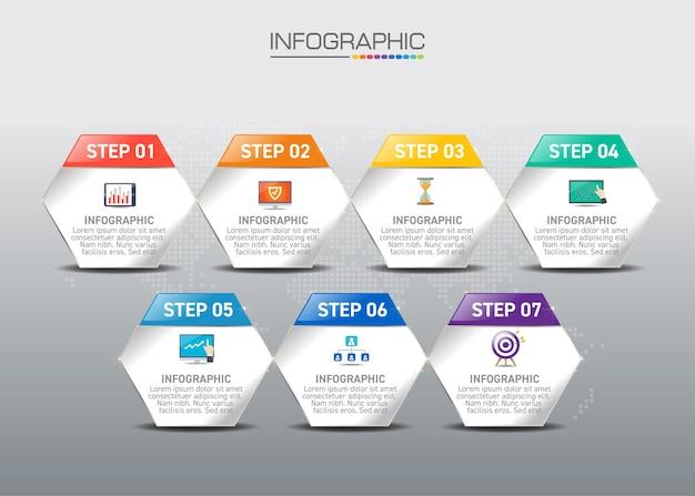 Infographic concept van online winkelen proces met 6 stappen.