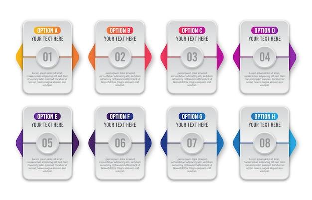 Infographic concept voor het bedrijfsleven. 8 stappen infographics labelontwerp