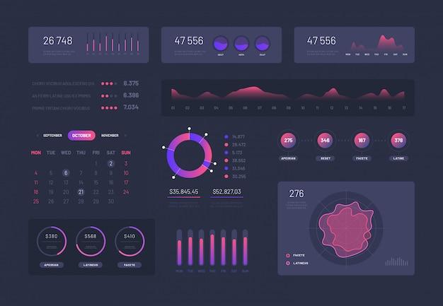 Infographic dashboard grafische set