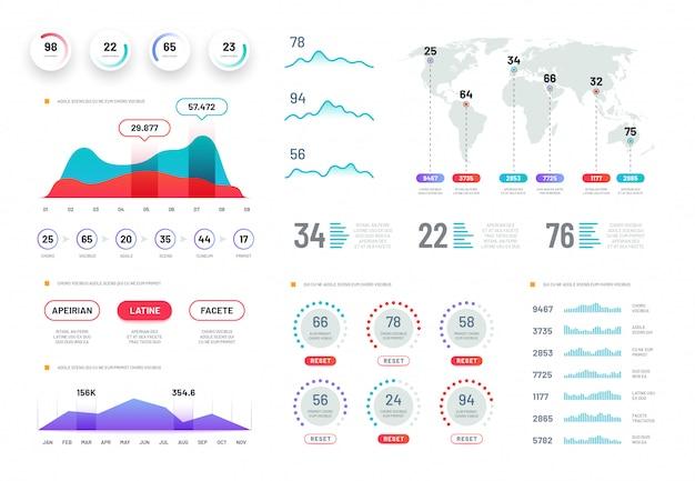 Infographic dashboard sjablonen set