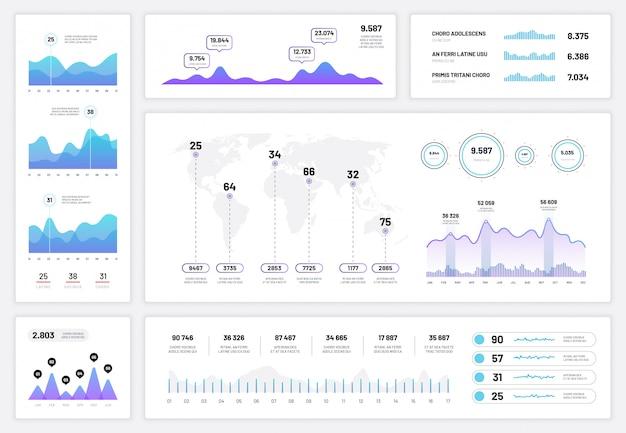 Infographic dashboard. ux ui-interface, informatiepaneel met financiële grafieken, cirkeldiagram en kolomdiagrammen. vector voortgangsrapport