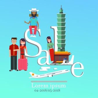 Infographic de verkoop van taiwan het van letters voorzien en beroemde oriëntatiepunten