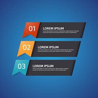 Infographic design elements met 3 verschillende kleuren