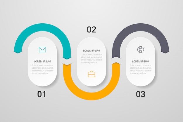 Infographic design met pictogrammen en 3 opties of stappen.