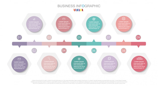 Infographic diagram ontwerp bedrijfsconcept met 9 opties.