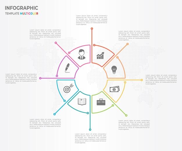 Infographic dunne lijn cirkel ontwerp 8 opties.
