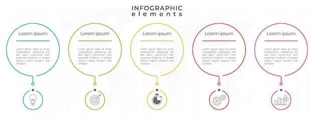 Infographic dunne lijn ontwerpsjabloon proces 5 opties.