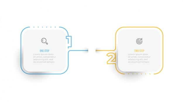 Infographic eenvoudig ontwerp nummerelementen met dunne lijnlabel. bedrijfsconcept met 2 opties of stappen.