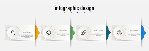Infographic element data visualisatie ontwerpsjabloon kan worden gebruikt voor stappen opties business proces workflow diagram stroomdiagram concept tijdlijn marketing pictogrammen info graphics