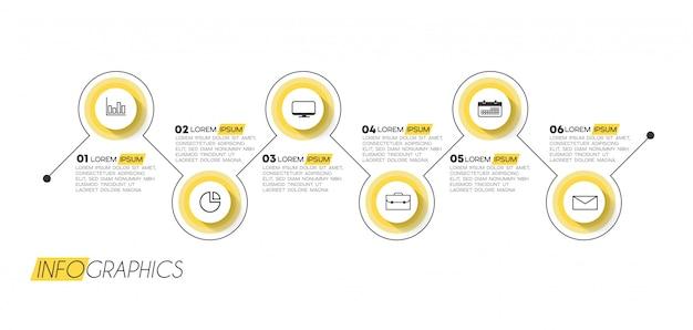 Infographic element met 6 opties of stappen. kan worden gebruikt voor proces, presentatie, diagram, workflowindeling, infografiek, webontwerp.
