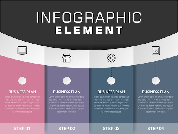 Infographic element met pictogram voor bedrijfsstrategie