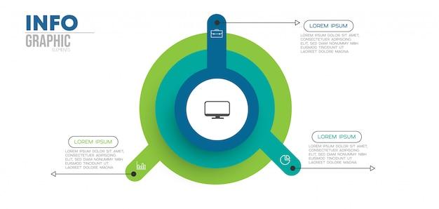 Infographic element met pictogrammen en 3 opties of stappen