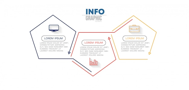 Infographic element met pictogrammen en 3 opties of stappen