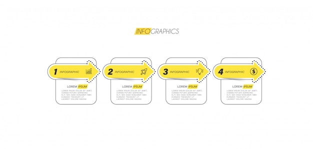 Infographic element met pictogrammen en 4 opties of stappen.