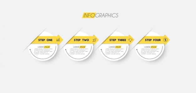 Infographic element met pictogrammen en 4 opties of stappen