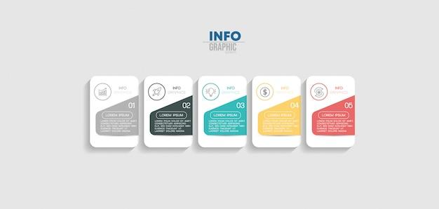Infographic element met pictogrammen en 5 opties of stappen.
