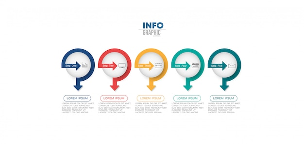 Infographic element met pictogrammen en 5 opties of stappen.