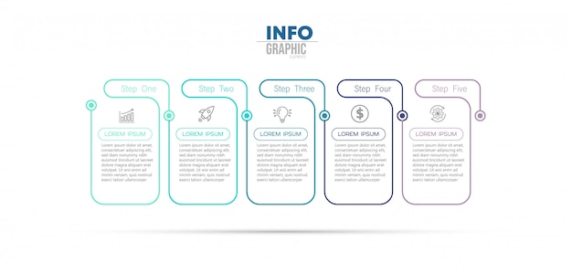 Infographic element met pictogrammen en 5 opties of stappen