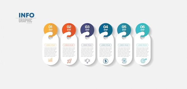 Infographic element met pictogrammen en 6 opties of stappen. kan worden gebruikt voor proces, presentatie, diagram, workflowindeling, infografiek, webontwerp.
