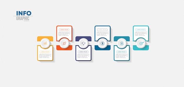 Infographic element met pictogrammen en 6 opties of stappen.