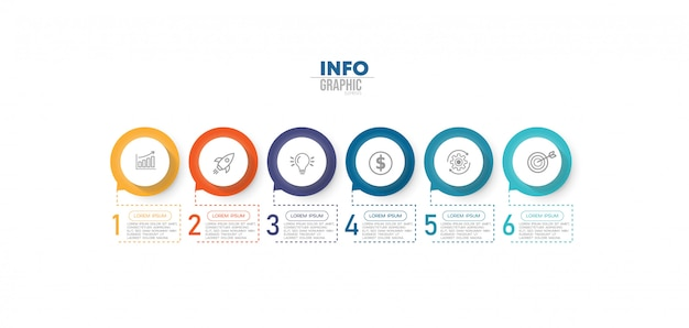 Infographic element met pictogrammen en 6 opties of stappen.