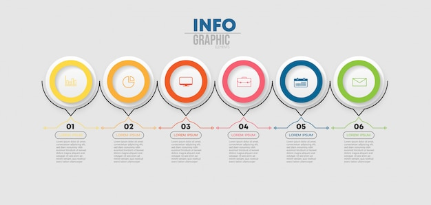 Infographic element met pictogrammen en 6 opties of stappen