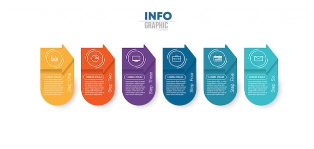 Infographic element met pictogrammen en 6 opties of stappen