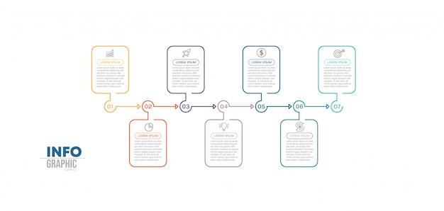 Infographic element met pictogrammen en 7 opties of stappen.