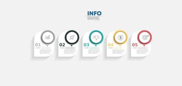 Infographic element met pictogrammen en opties of stappen.