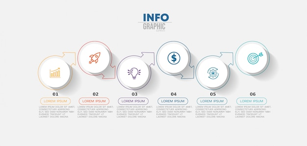 Infographic element met pictogrammen en opties of stappen.