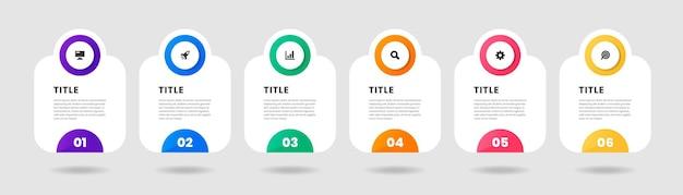 Infographic element ontwerpsjablonen met pictogrammen en 6 cijfers