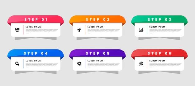 Infographic element ontwerpsjablonen met pictogrammen en 6 stappen