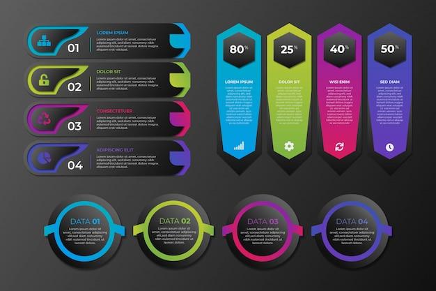 Infographic elementen collectie met zwarte achtergrond