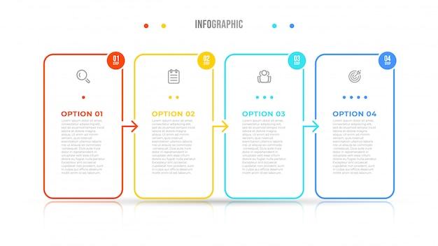 Infographic elementen dunne lijn design label met pictogrammen. bedrijfsconcept met 4 opties, stappen.