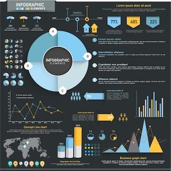 Infographic elementen met blauwe en oranje gegevens
