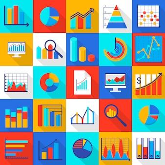 Infographic elementen pictogrammen instellen. vlakke afbeelding van 25 infographic elementen pictogrammen voor web