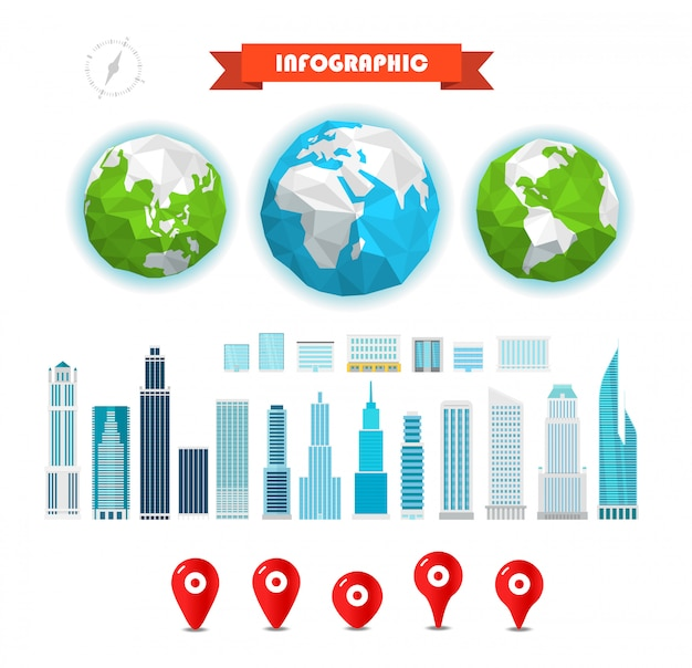 Infographic elementen sjabloon. de aarde en gebouwen en pinnen