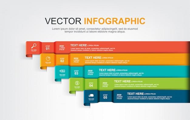 Infographic elementenontwerp met 5 opties