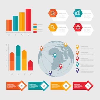 Infographic elementenverzameling in plat ontwerp