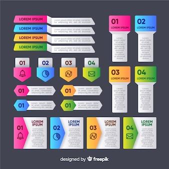 Infographic elementenverzameling in verloopstijl
