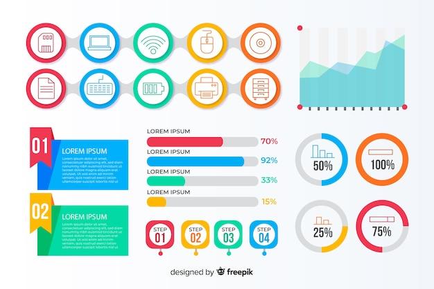 Infographic elementenverzameling in vlakke stijl