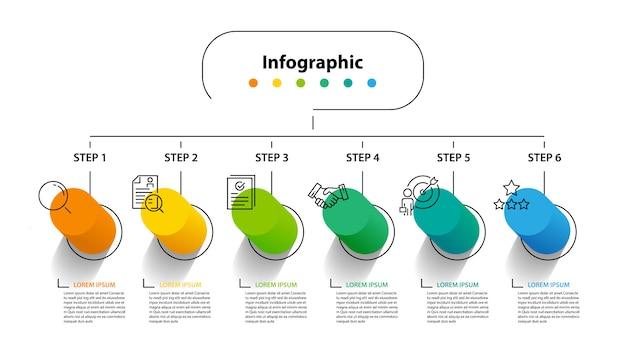 Infographic elementontwerp 6 stappen, infochartplanning