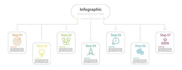Infographic elementontwerp 7 stappen, infochartplanning
