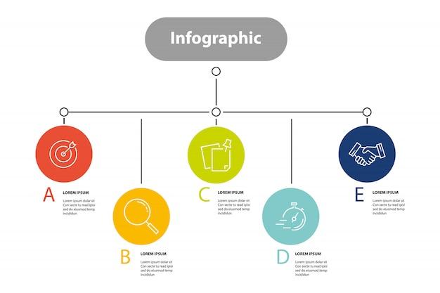 Infographic elementstap, infochartplanning
