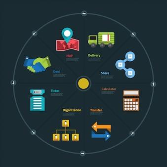 Infographic en pictogramelementbedrijf verbinden levensstijl voor lay-out of grafiekgrafiek