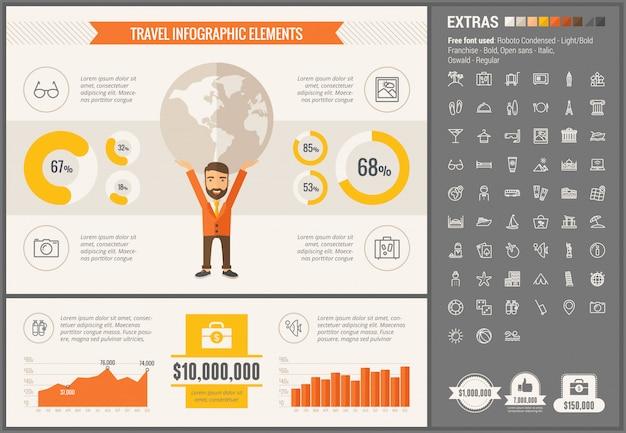 Infographic geplaatste het malplaatje en de pictogrammen van het reis vlakke ontwerp