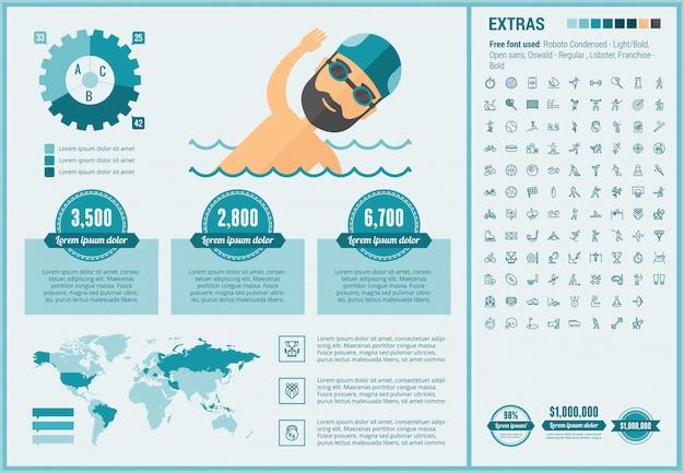 Infographic geplaatste het malplaatje en de pictogrammen van het sporten vlakke ontwerp