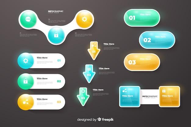 Infographic gradiënt grafieken collectie sjabloon